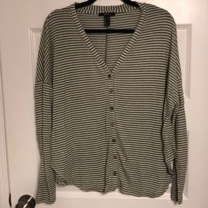 Green/Off-white striped Cardigan Sweater